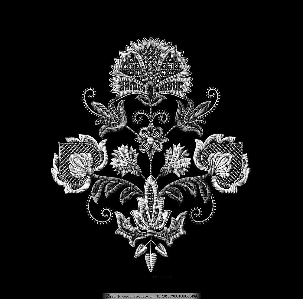黑白花边纹样图片