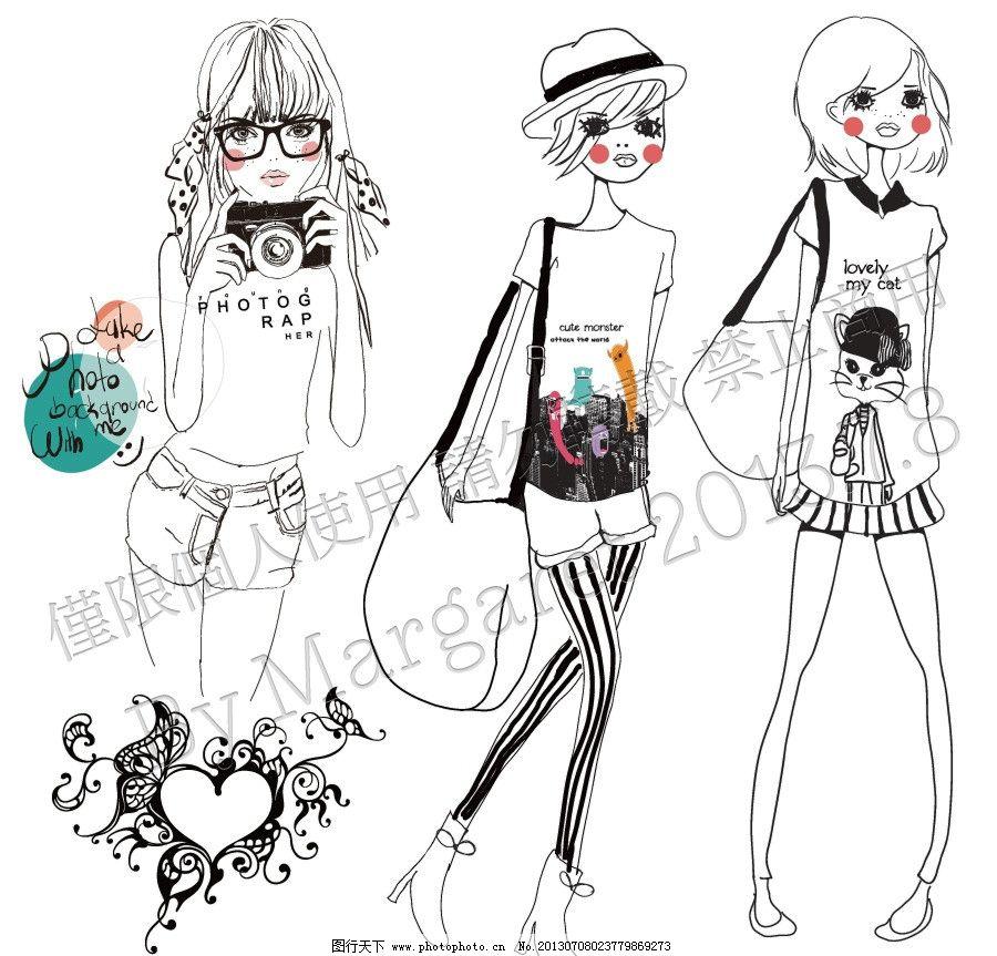 时尚手绘线条美女图片