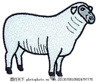 绣花 动物 羊 色彩 红色 免费素材 面料图库 服装图案 免费下载
