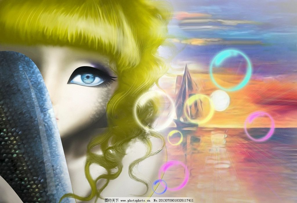 卡通人物 长卷发女生 海的女儿 插画 气泡 动漫人物 动漫动画 设计
