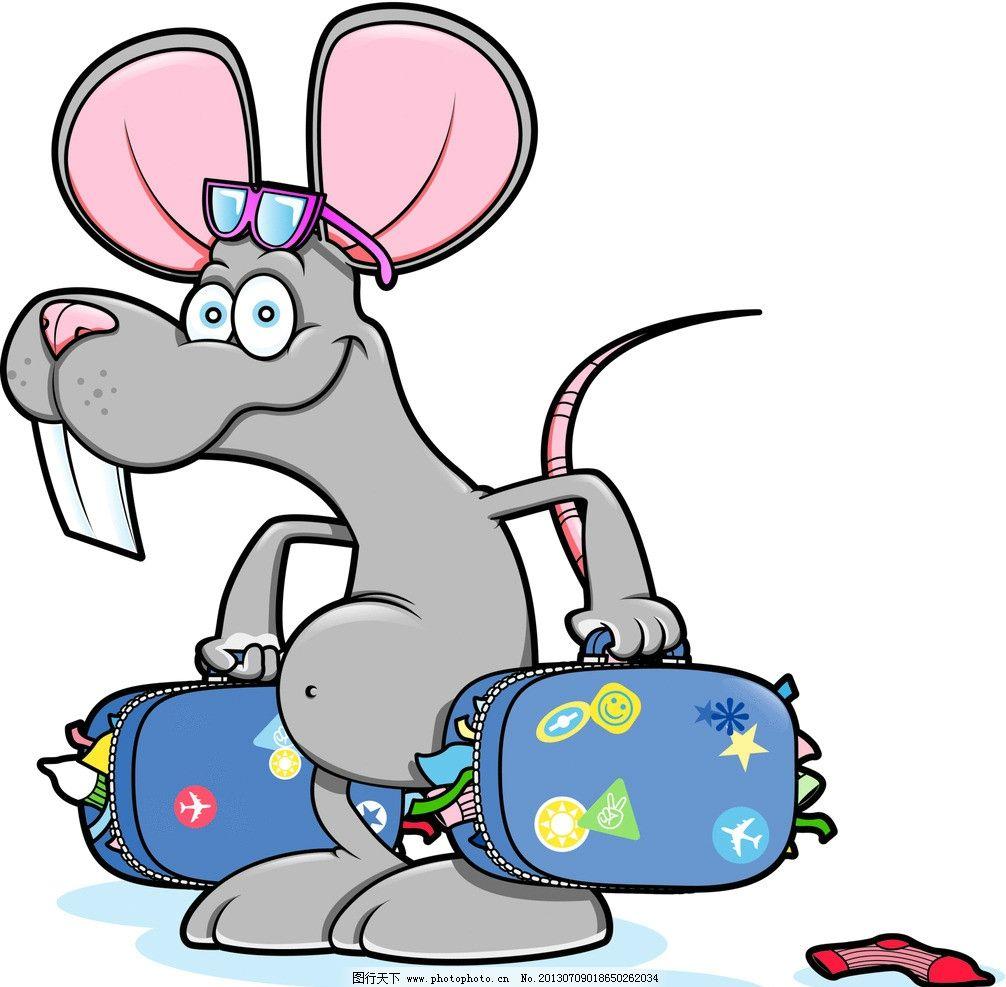 老鼠背影黑白手绘