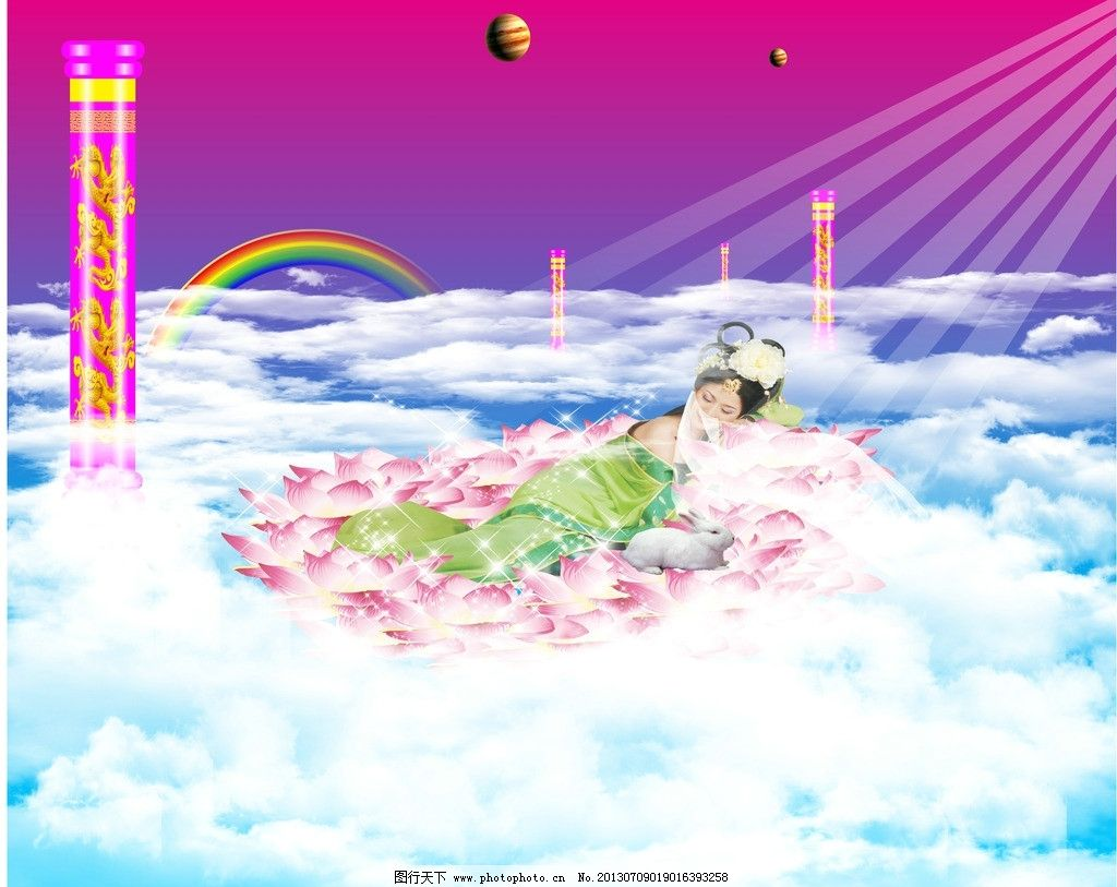 设计图库 文化艺术 绘画书法  天宫嫦娥 天宫 嫦娥 玉兔 仙境 柱子