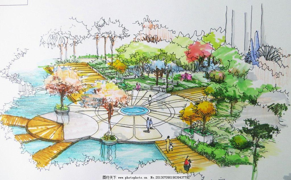 临水广场 效果图 樱花 手绘