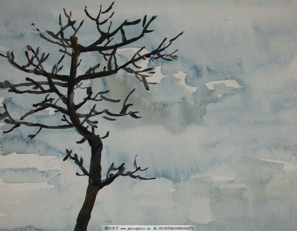 国画树木风景图片
