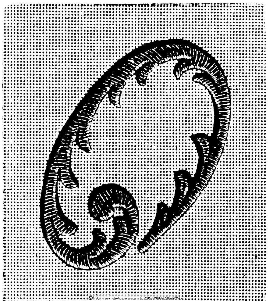 黑白花边纹样英文字母 植物 线条 花卉 服装边饰 刺绣 绳子
