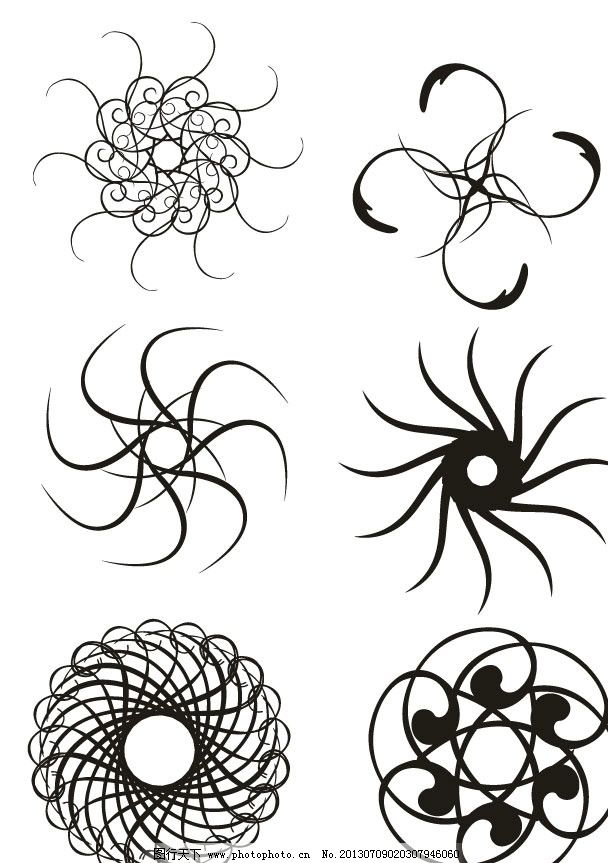圆圈 花纹 花朵 花型 圆形 梦幻花型 花边 圆形图案 时尚圆形