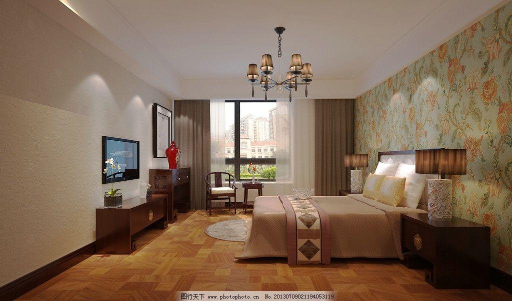 中式卧室        3d效果图 床 窗户 吊灯 电视机 3d作品 3d设计 设计图片