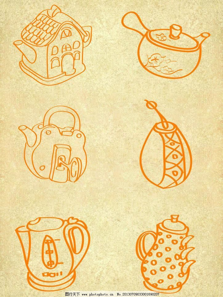 创意手绘水壶图片