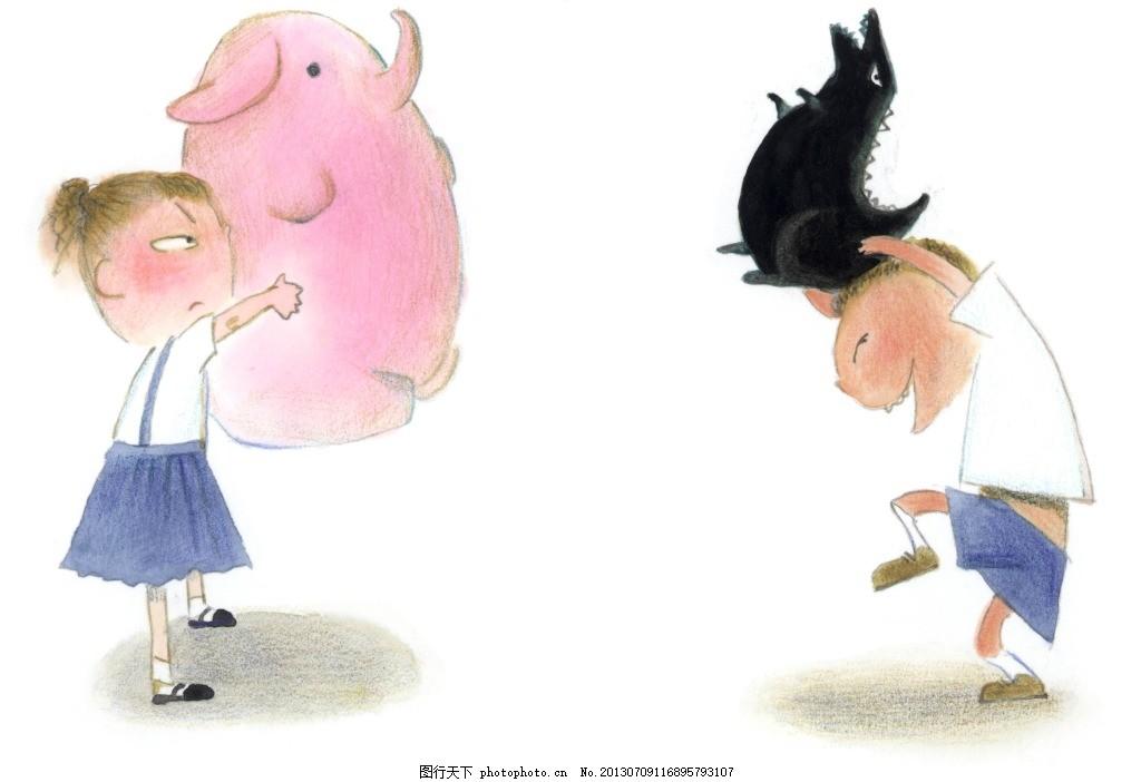 小猪彩绘 儿童水彩画 淡彩儿童插画 小猪儿童绘画图片 小猪儿童彩绘