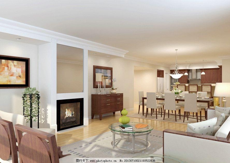 客餐厅 橱柜 餐桌 沙发 茶几 壁橱 室内模型 3d设计模型 源文件 max