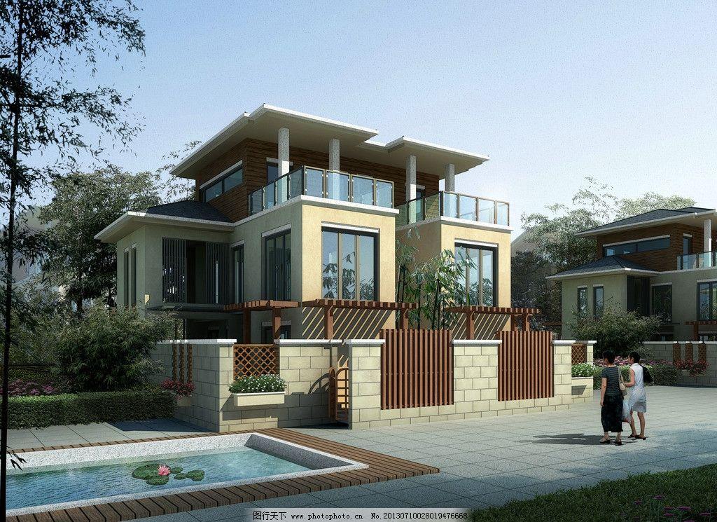 别墅设计效果图 别墅 度假别墅 设计        现代中式风格 建筑 建筑