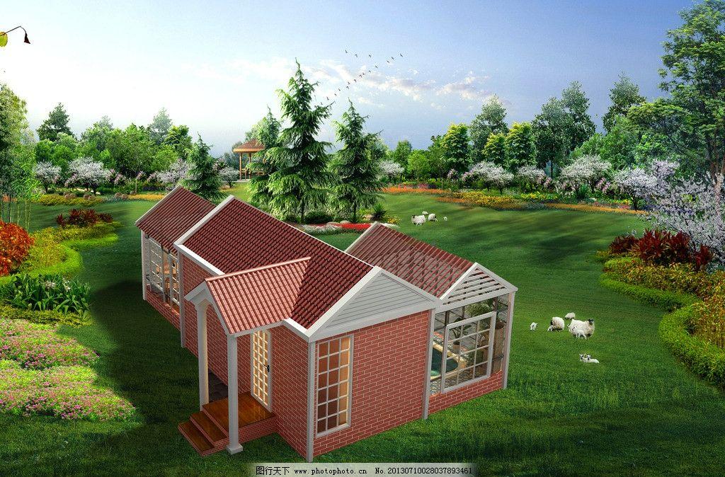 别墅效果图 室外 建筑 景观园林