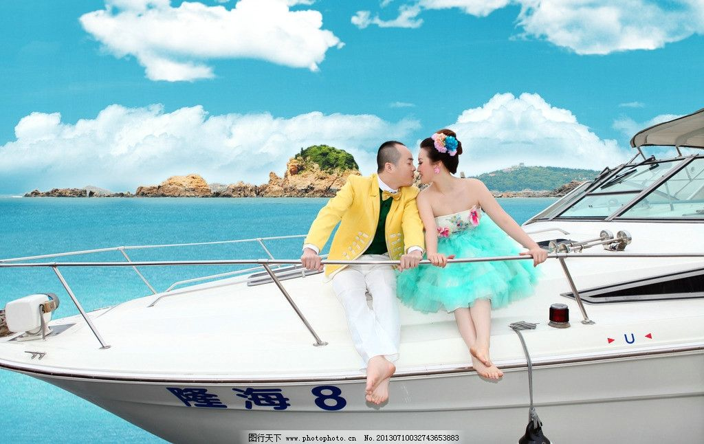 碧海蓝天海岛 婚纱照 碧海