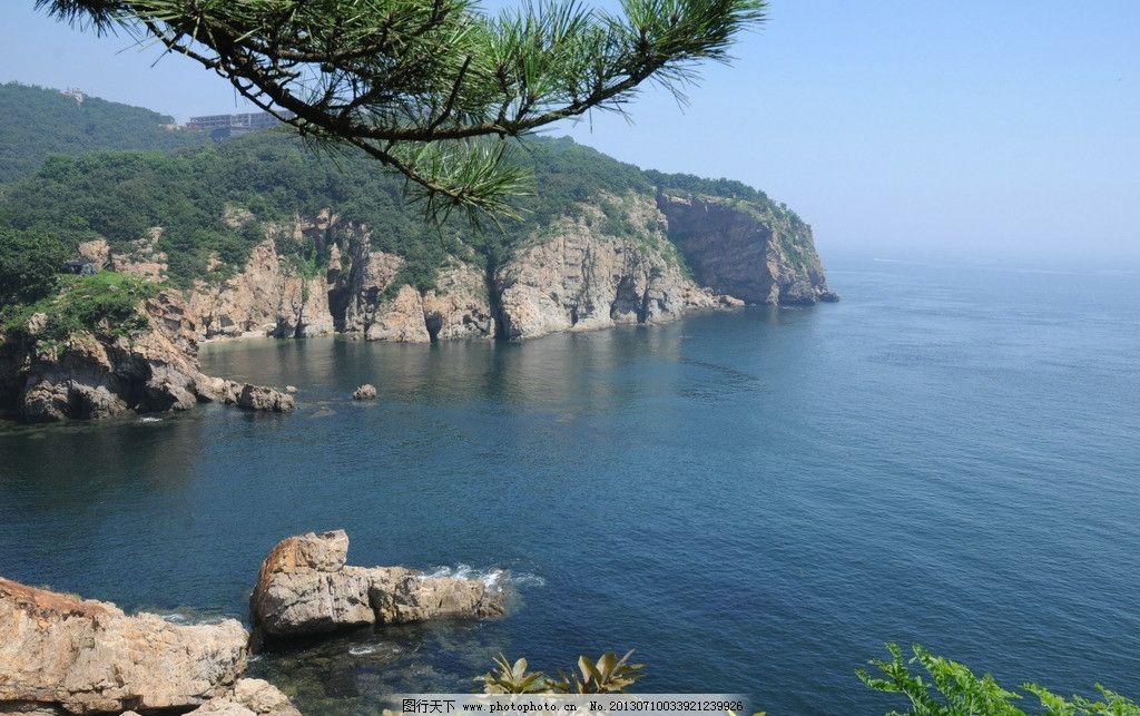 大连海边 松树 岩石 海天一色 国内旅游 旅游摄影