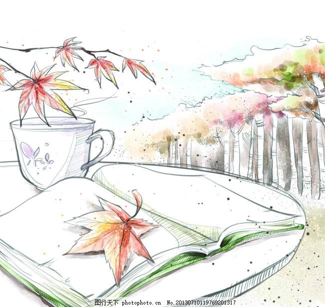 手绘风格 笔记本 桌子 白色