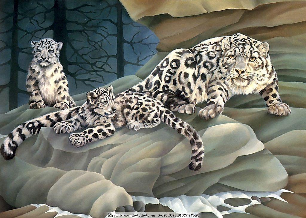 豹子 动物 花豹 岩石 大树 绘画 艺术 其他 动漫动画 设计 100dpi jpg