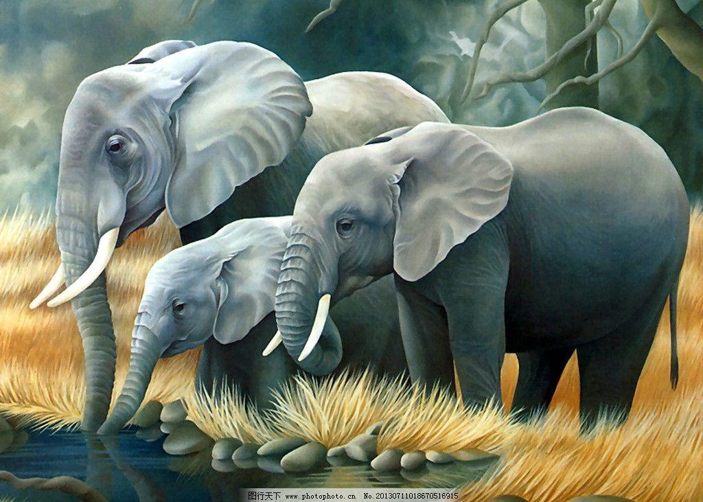 大象 杂草 河流 动物 动漫 艺术 其他 动漫动画 设计 100dpi jpg