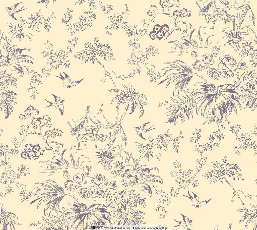 线条花纹 花卉 单色图案 抽象底纹 背景花型 服装印花 时尚花纹 花边