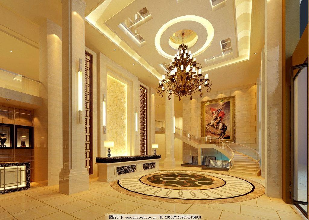 酒店大堂 酒店大堂设计素材 酒店大堂效果图 欧式 油画 酒店 3d作品