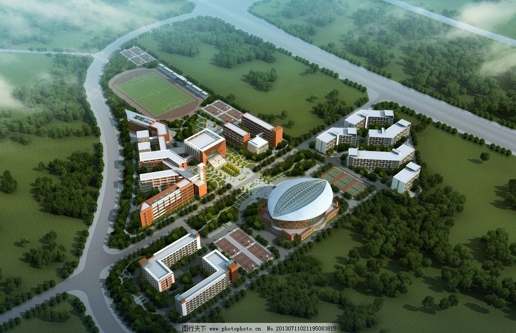 建筑效果图 鸟瞰 3d 学校 运动场 日景 效果图鸟瞰 3d作品 3d设计