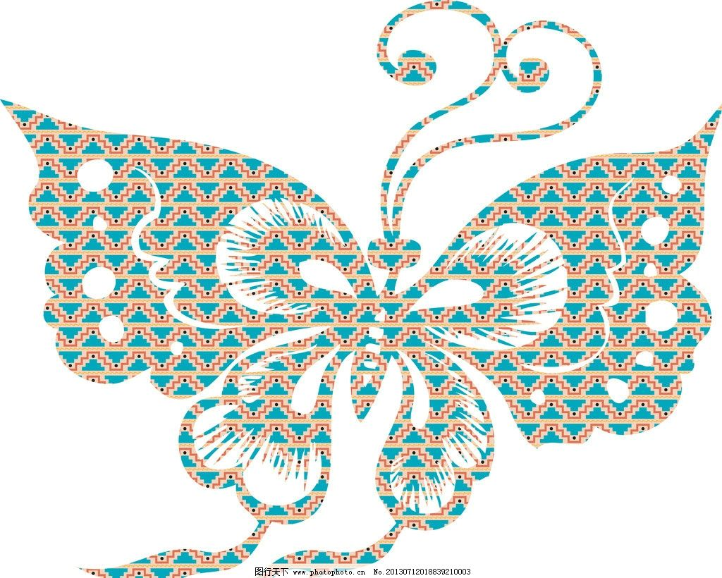 蝴蝶剪纸图案图片