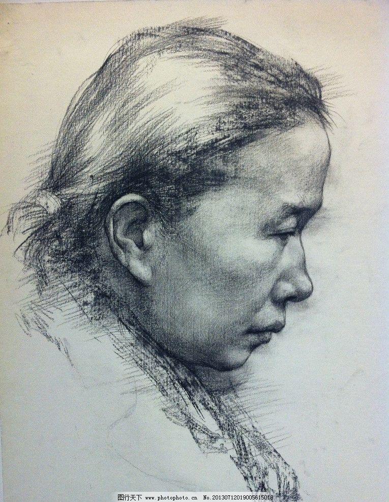 素描头像 国美基础部 素描 线描      造型 女人 绘画 绘画书法 文化