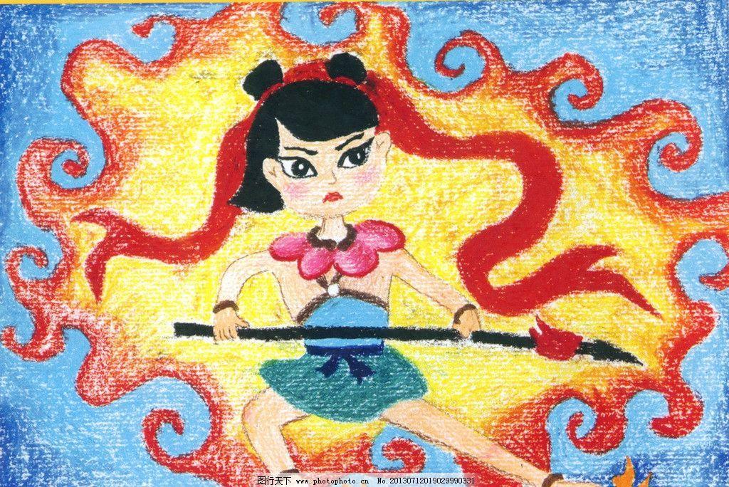 哪吒闹海 神话故事 儿童画 蜡笔画 油画棒 艺术作品 绘画书法 文化