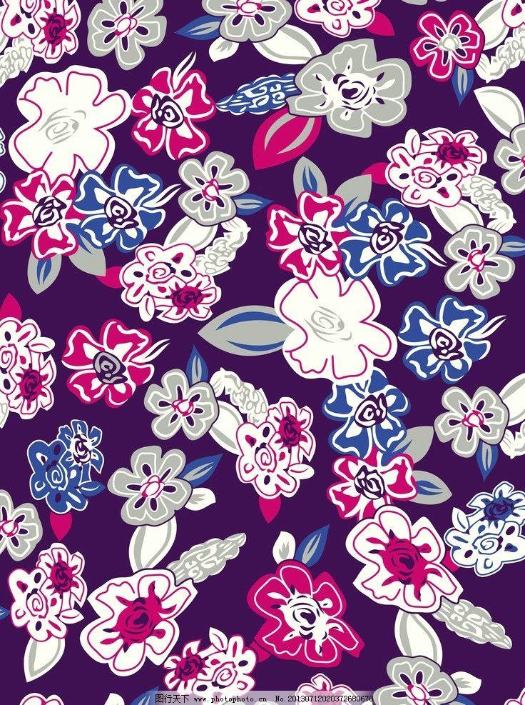 印花花纹 不规则花纹 花卉 印花 服装图案 抽象底纹 五叶花 花边花纹