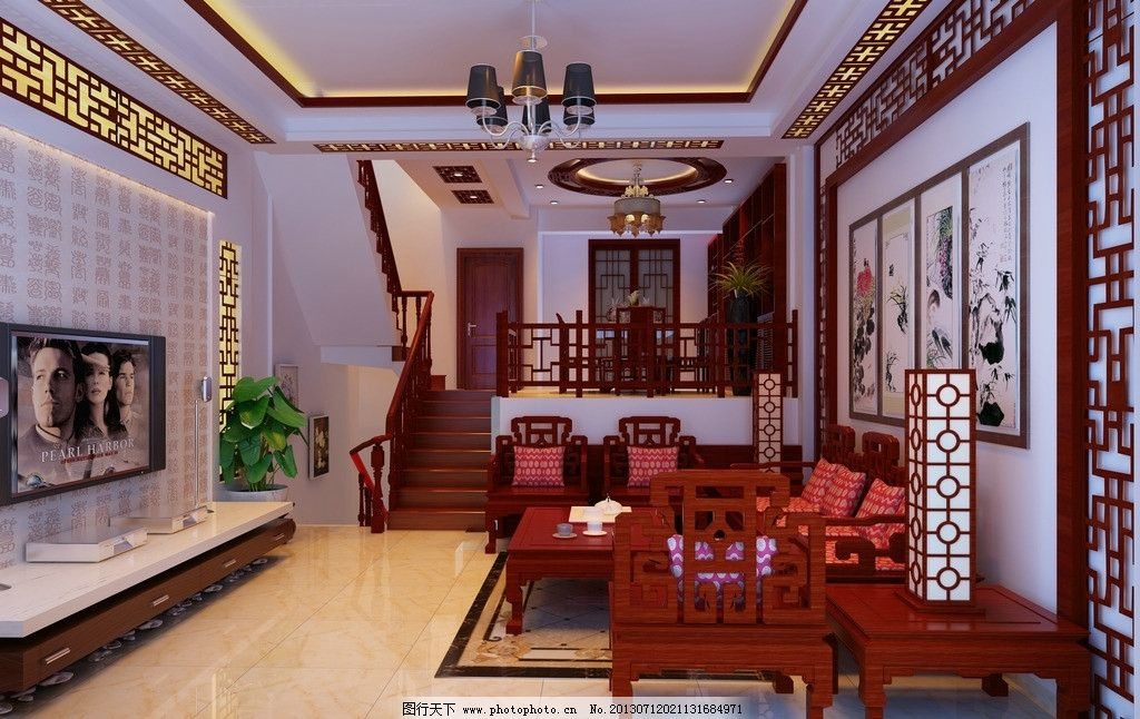 客厅效果图 中式客厅        木质花架 墙纸 电视机 吊灯 3d作品 3d