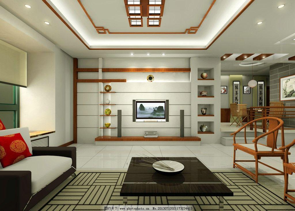 中式客厅效果图 客厅效果图 中式客厅电视背景墙 地毯 沙发 茶几 客厅