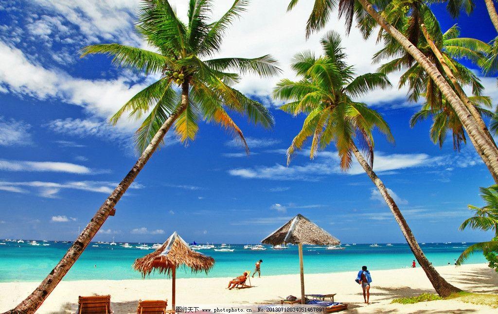 海滩 沙滩 海边 海景 太阳伞 躺椅 椰子树 马尔代夫 天堂 旅游胜地