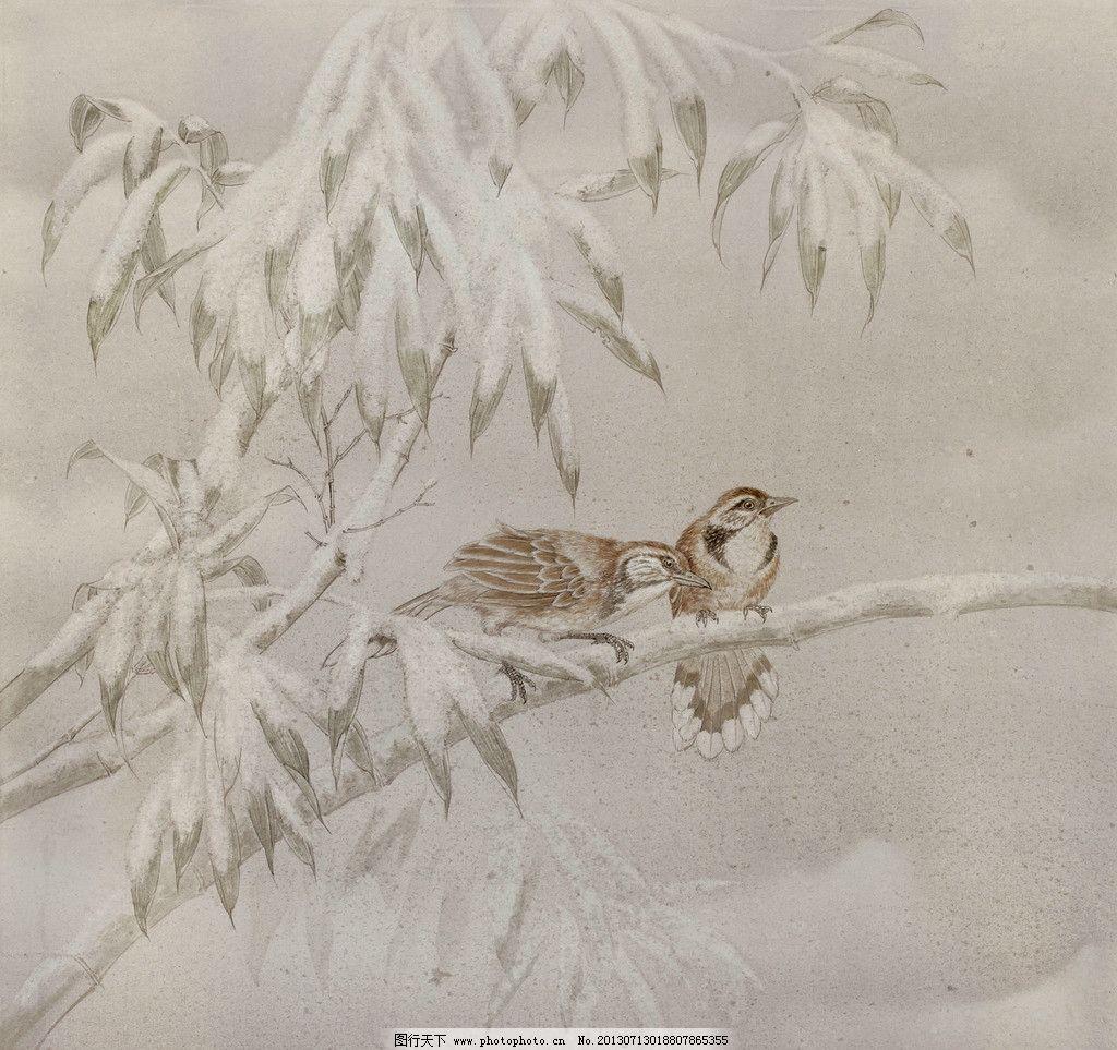 动物国画 鸟 雪景 工笔画 意境 美术 树木