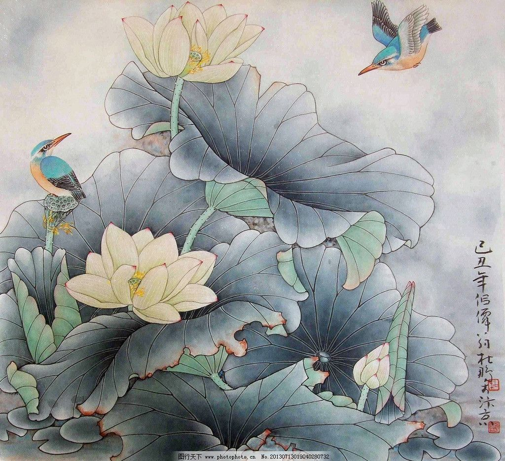 荷池清翠 美术 中国画 工笔画 花鸟画 荷花 翠鸟 国画艺术