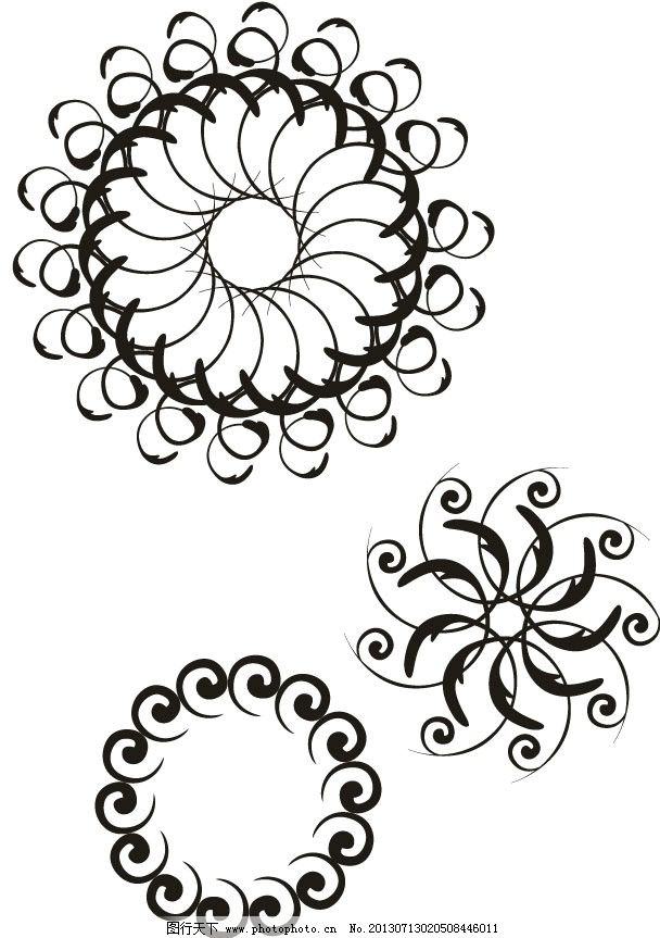圆形花朵图片,抽象 抽象图 黑白格 黑白画 装饰画-图
