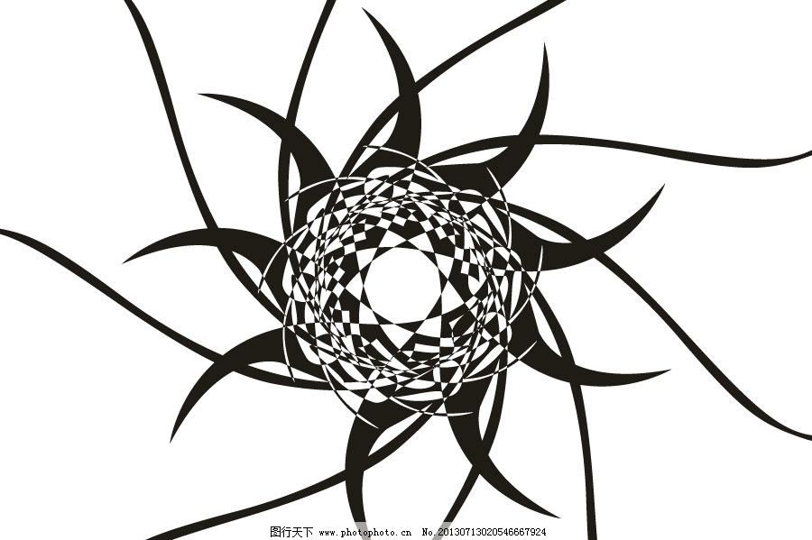 设计图库 底纹边框 条纹线条  装饰画 抽象 抽象图 黑白格 黑白画图片