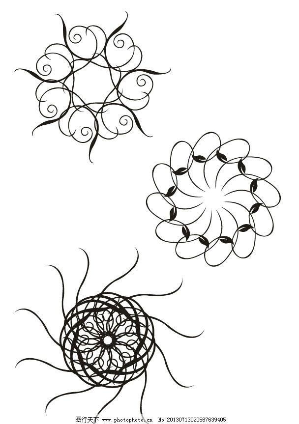 风型 黑白图案 花纹 圆圈 花朵 花型 圆形 梦幻花型 花边 圆形图案