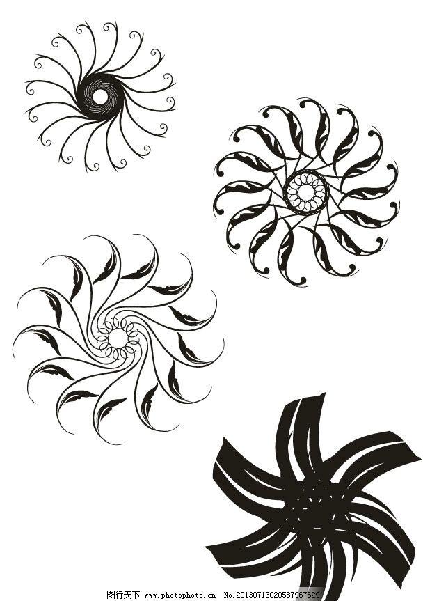 设计图库 底纹边框 条纹线条  花朵 抽象 抽象图 黑白格 黑白画 装饰