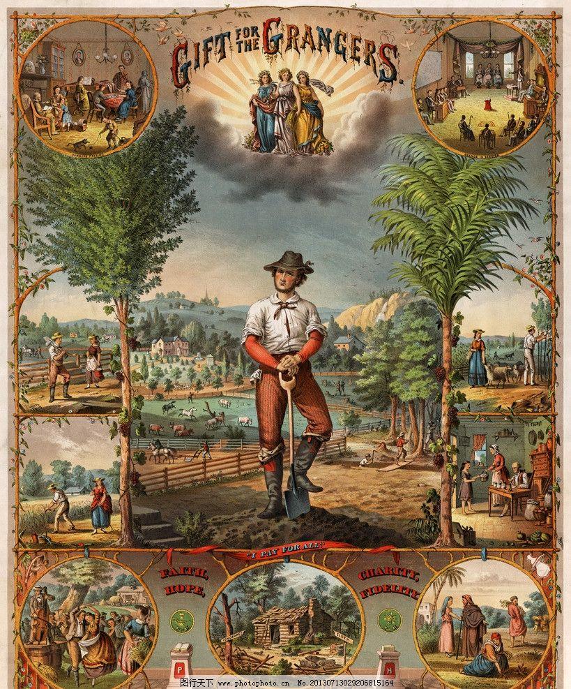 外国古典手绘海报图片