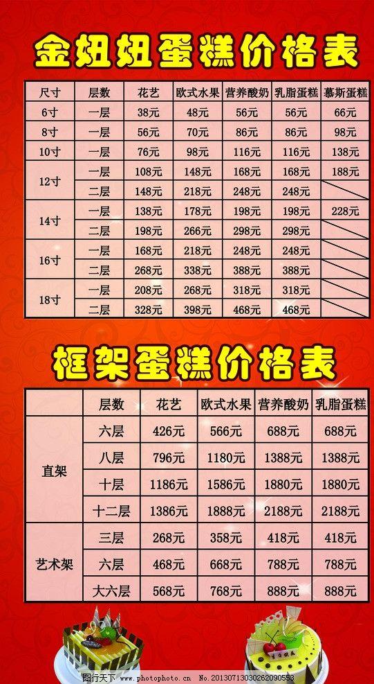 蛋糕价目表展板 蛋糕 价格表 表格 背景 表格排版 展板模板 广告设计