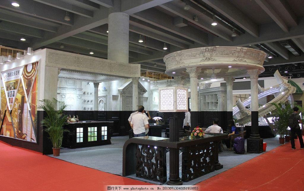 欧式建筑展览 展位展览 展位 展览 展位设计 红色 商务场景 商务金融