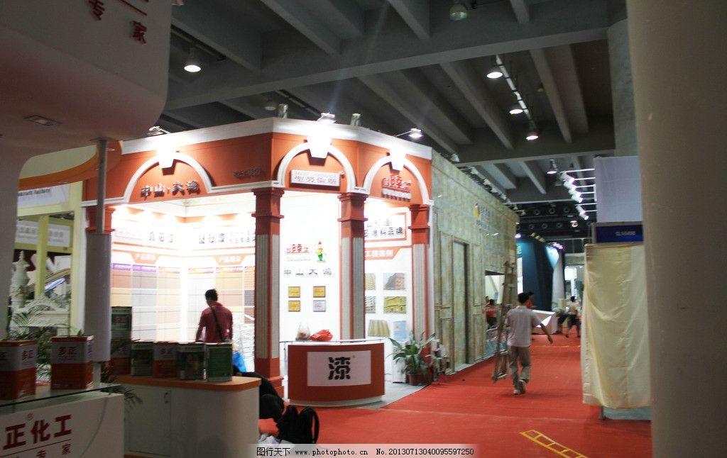 展位展览 展位 展览 展位设计 红色 欧式建筑展览 商务场景 商务金融