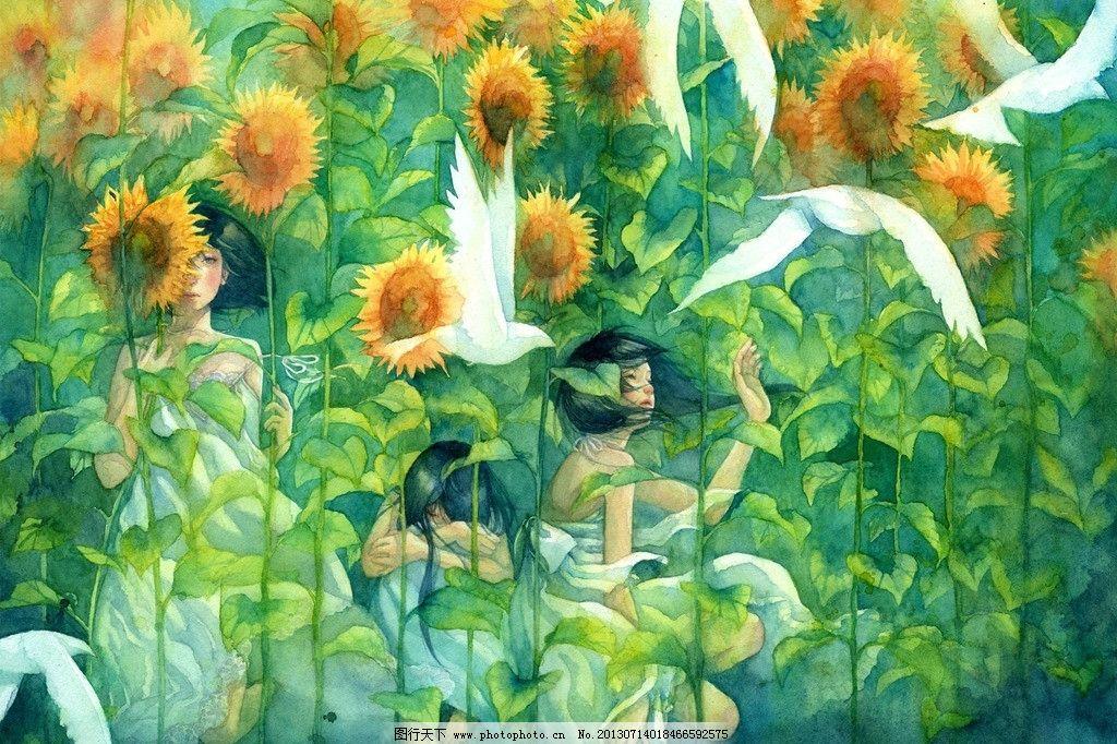 女孩 卡通 向日葵 和平鸽 唯美 风景漫画 动漫动画 设计 72dpi jpg