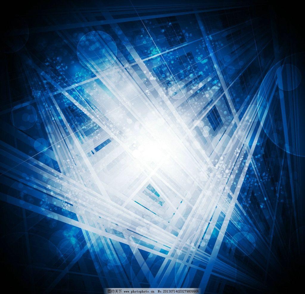 蓝色科技背景 动感线条 光斑 方框 条纹 现代科技 背景底纹矢量素材