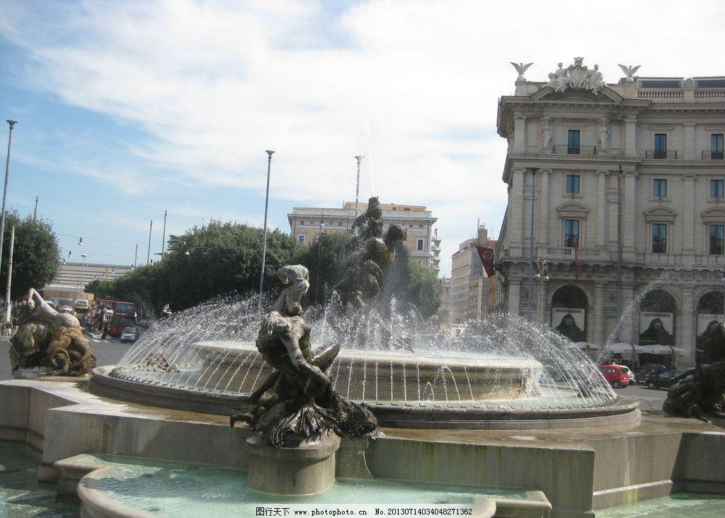 喷水池 街景 广场 雕像 欧式 国外旅游 旅游摄影 摄影 180dpi jpg