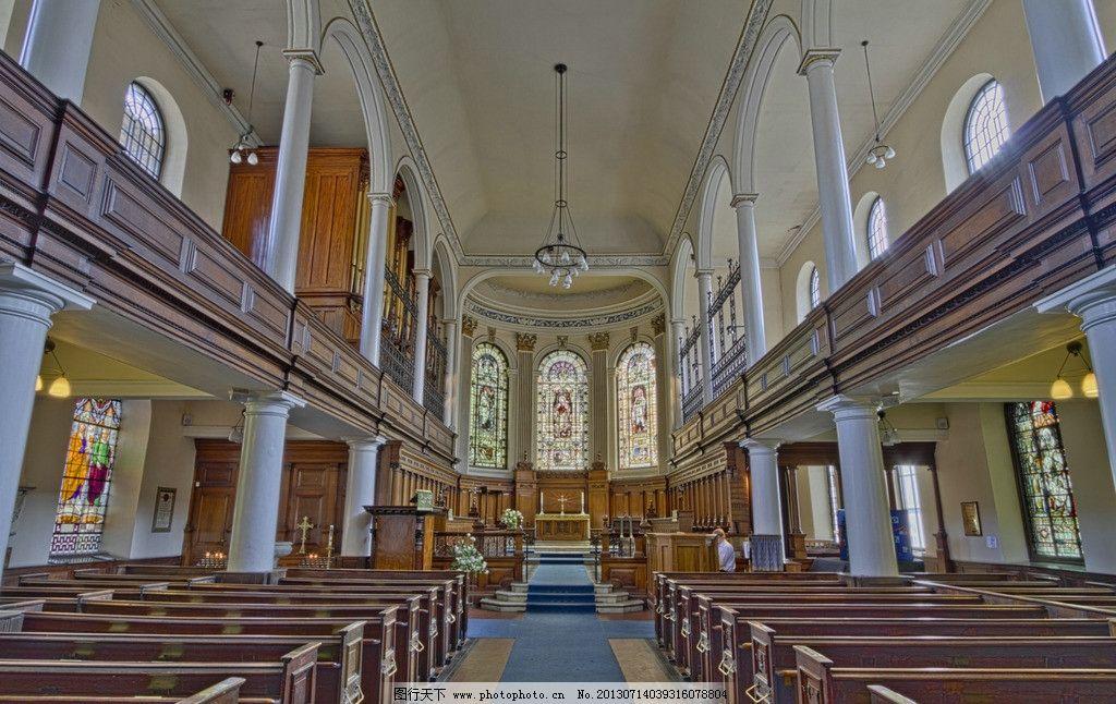 教堂 坐凳 灯具 十字架 壁画 窗户 木门 室内摄影 建筑园林
