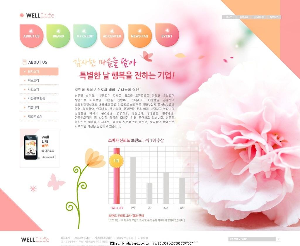 设计图库 界面设计 网页界面模板  玫瑰花网站 鲜花网页 花店网站图片