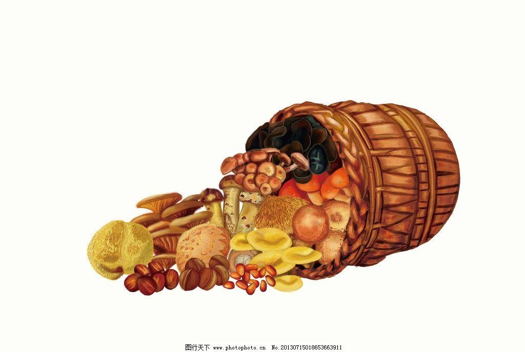 香菇 卖香菇 手绘香菇 经典香菇 可爱香菇 篮子 动漫动画