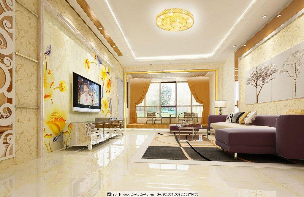 客厅效果图 挂画 窗户 沙发 电视背景墙 家装效果图 3d作品 3d设计