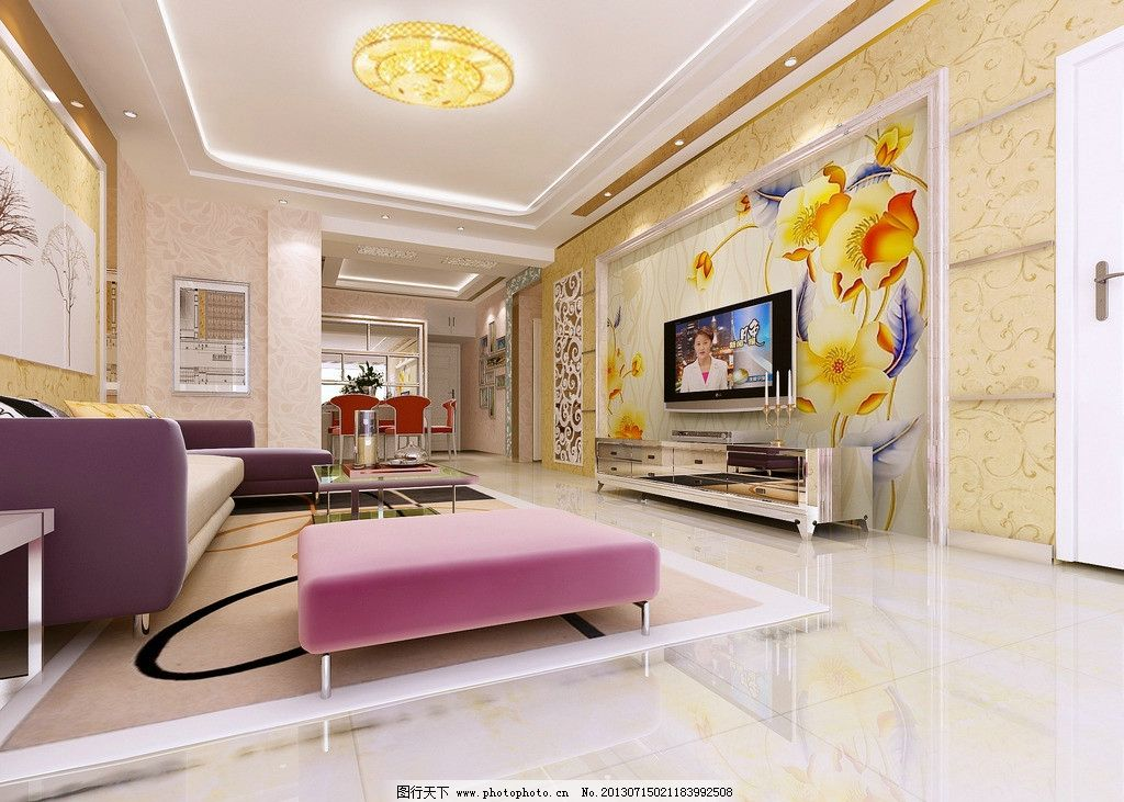 客厅电视整体墙画 整体墙画效果图 壁画 沙发 吊灯 家装效果图 3d作品