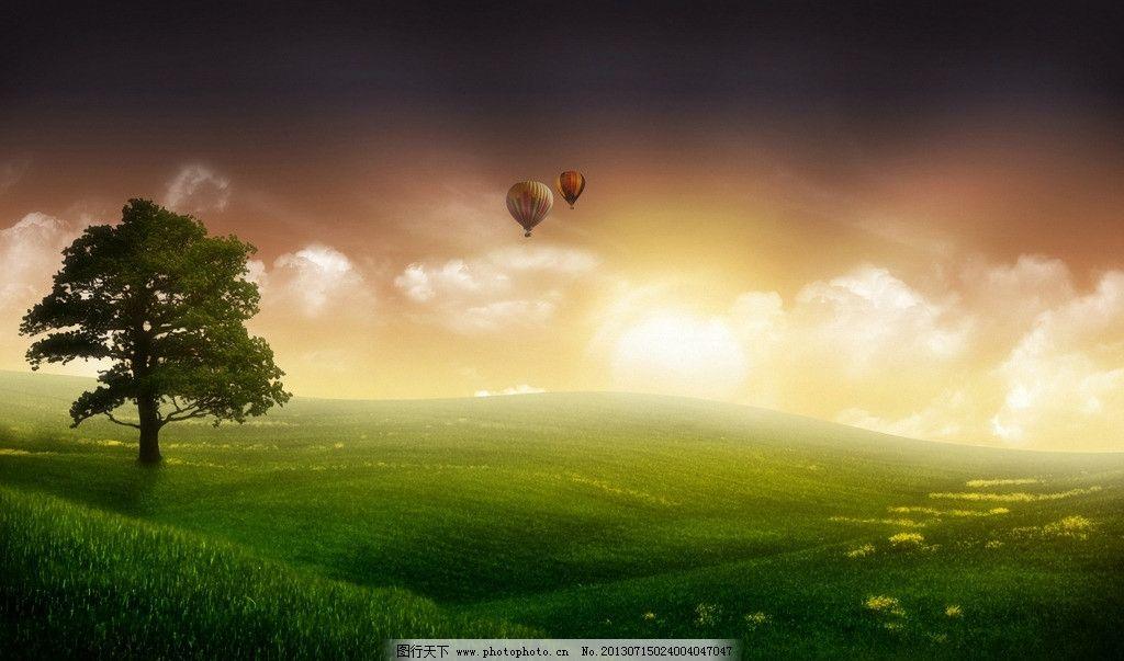 夏日自然风景 风景壁纸 草地 气球